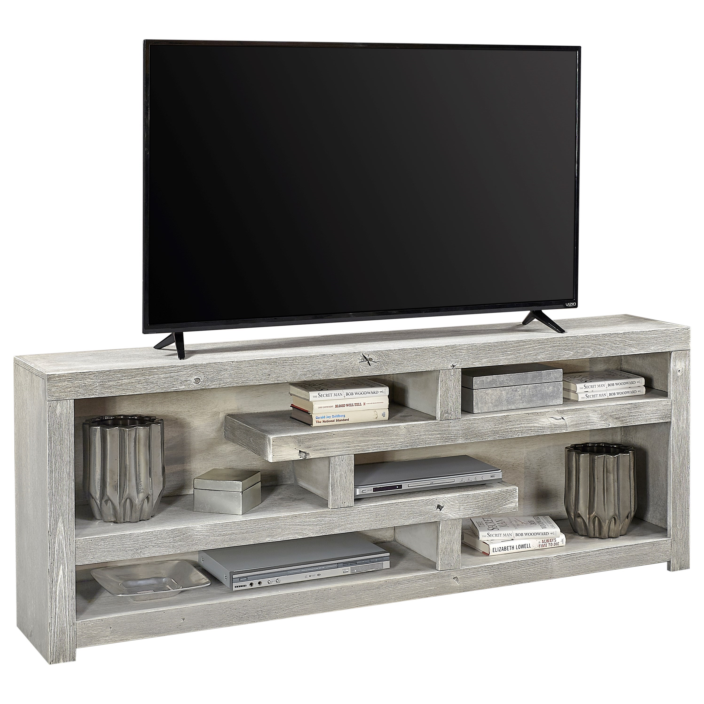 Aspen Avery Loft Contemporary 72 Quot Open Console With 6 Shelves Sadler S Home Furnishings Tv