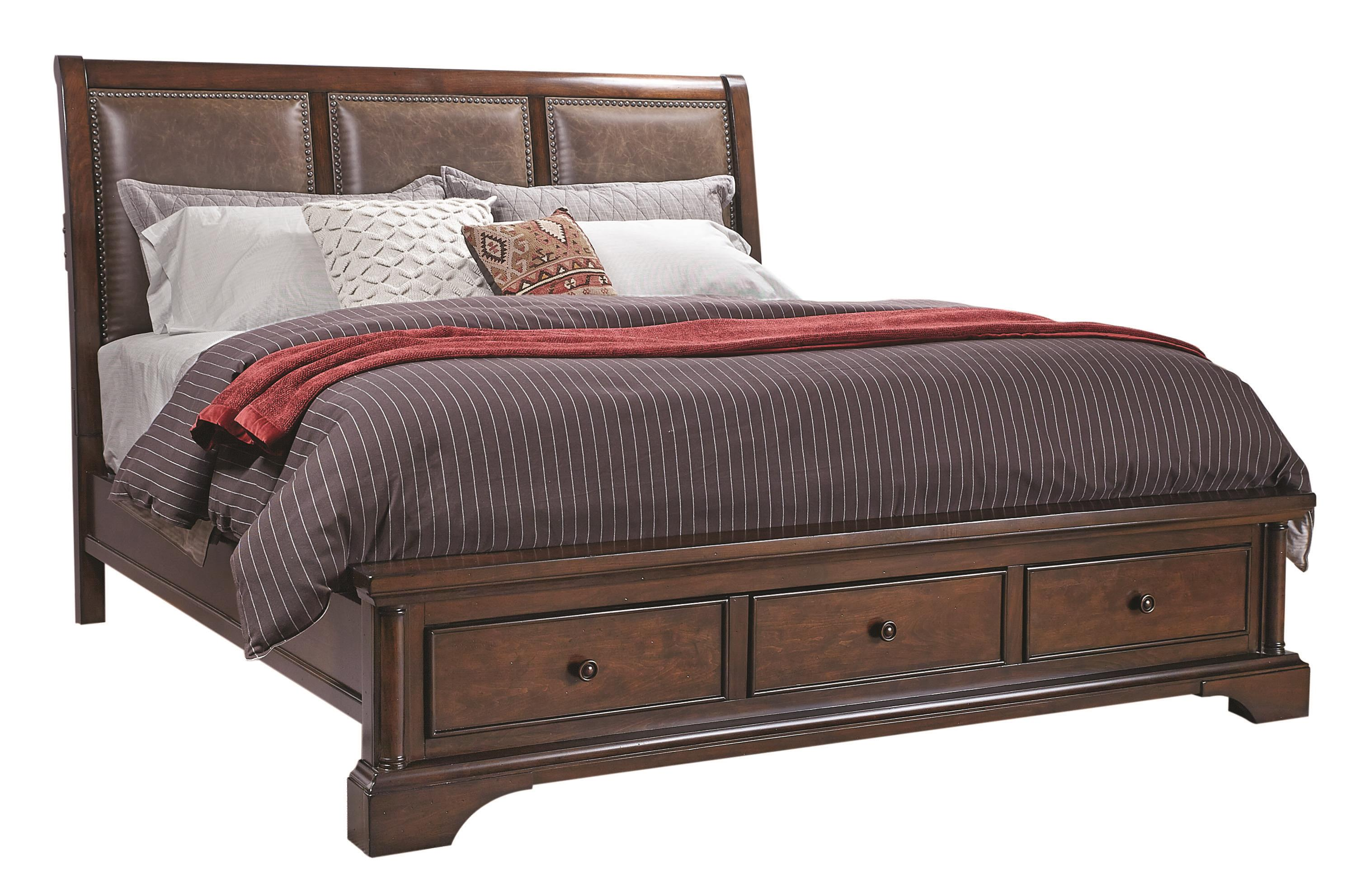 Aspenhome Bancroft King Bonded Leather Sleigh Storage Bed - Item Number: I08-425+406+407D