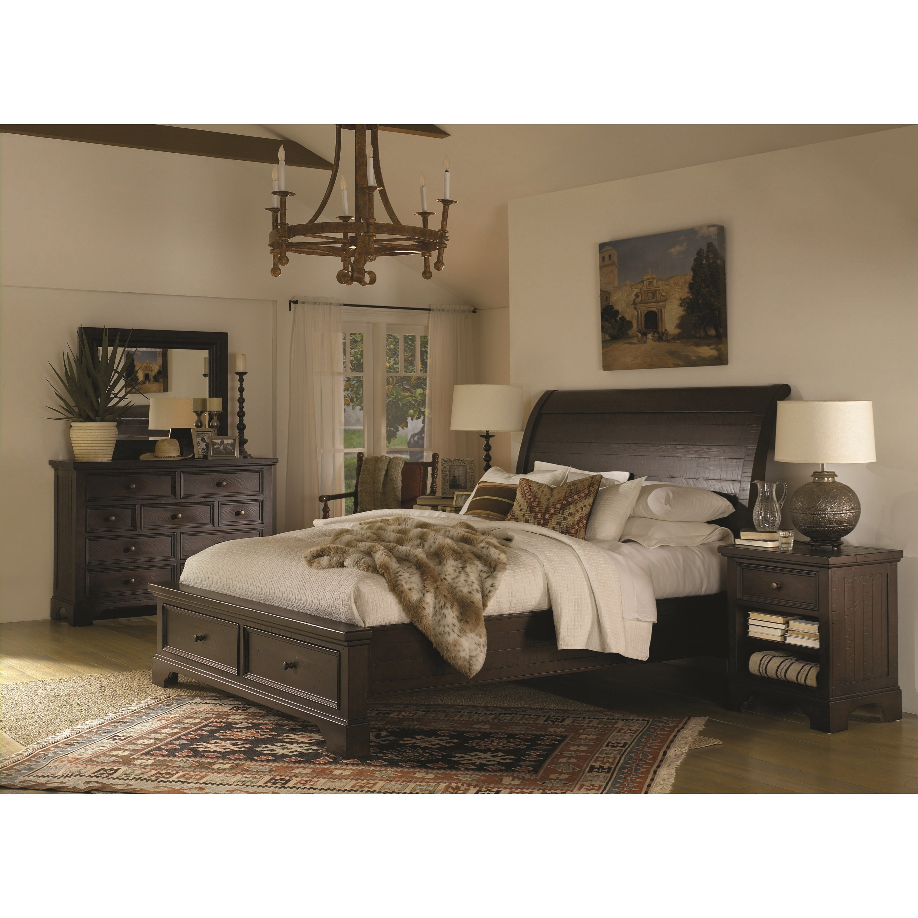 Aspenhome Bayfield Queen Sleigh Bed With Under Bed Storage Drawers Belfort Furniture Sleigh Beds