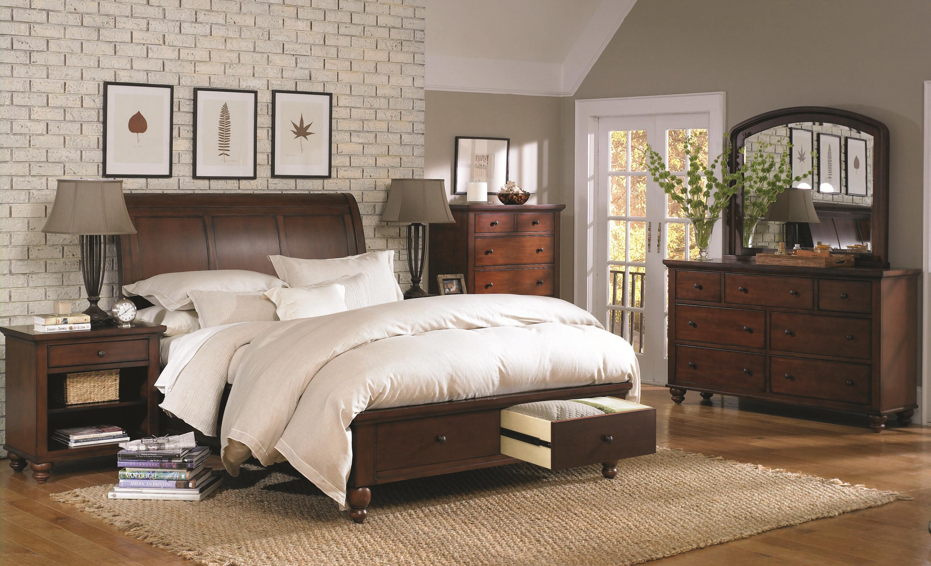 Aspenhome Cambridge Queen Sleigh Bed With Storage Drawers And Usb Ports Darvin Furniture