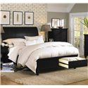 Aspenhome Cambridge King-Size Bed with Sleigh Headboard & Drawer Storage Footboard - ICB-404+407D+406L-BLK - Bed Shown May Not Represent Size Indicated