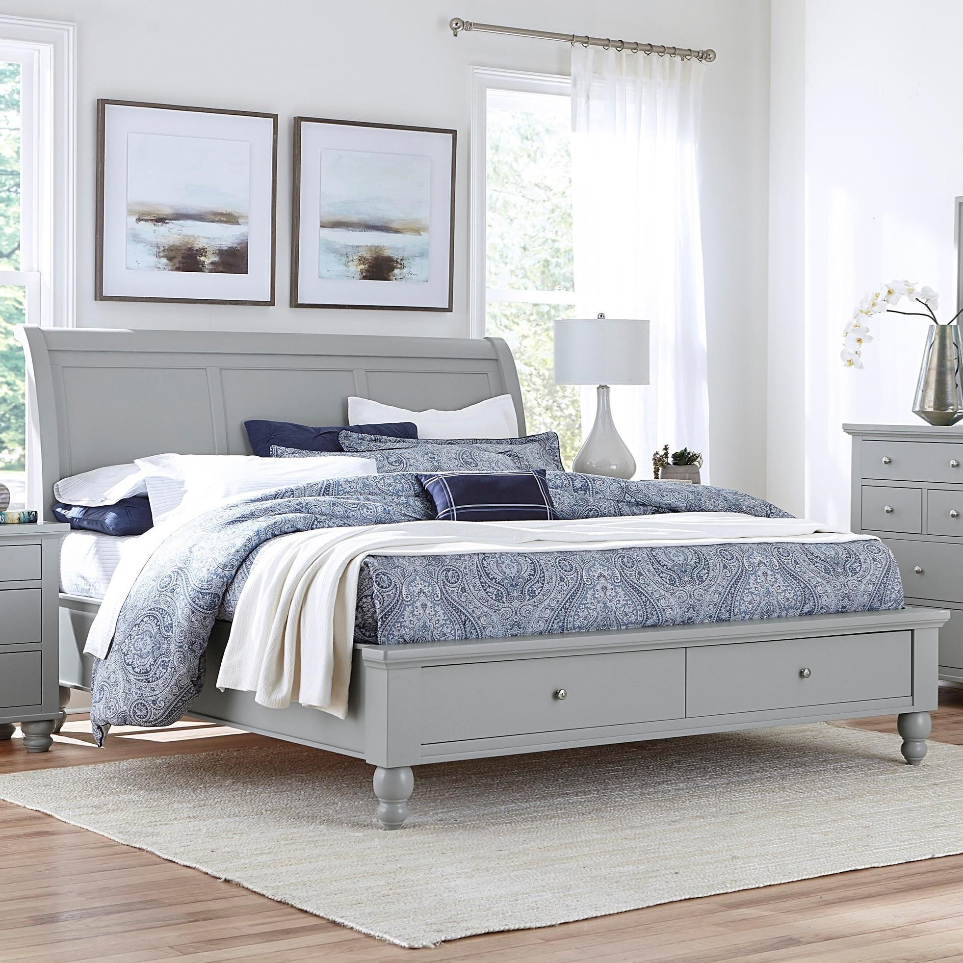 California King Storage Sleigh Bed