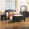 Aspenhome Cambridge King/Cal King Panel Headboard - ICB-415-BLK - Shown with Nightstand, Dresser & Mirror