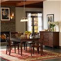 Morris Home Furnishings Clinton Traditional Dining Server with Heat Resistant Granite Top Panels - Shown with Dining Let Table and X Back Chairs