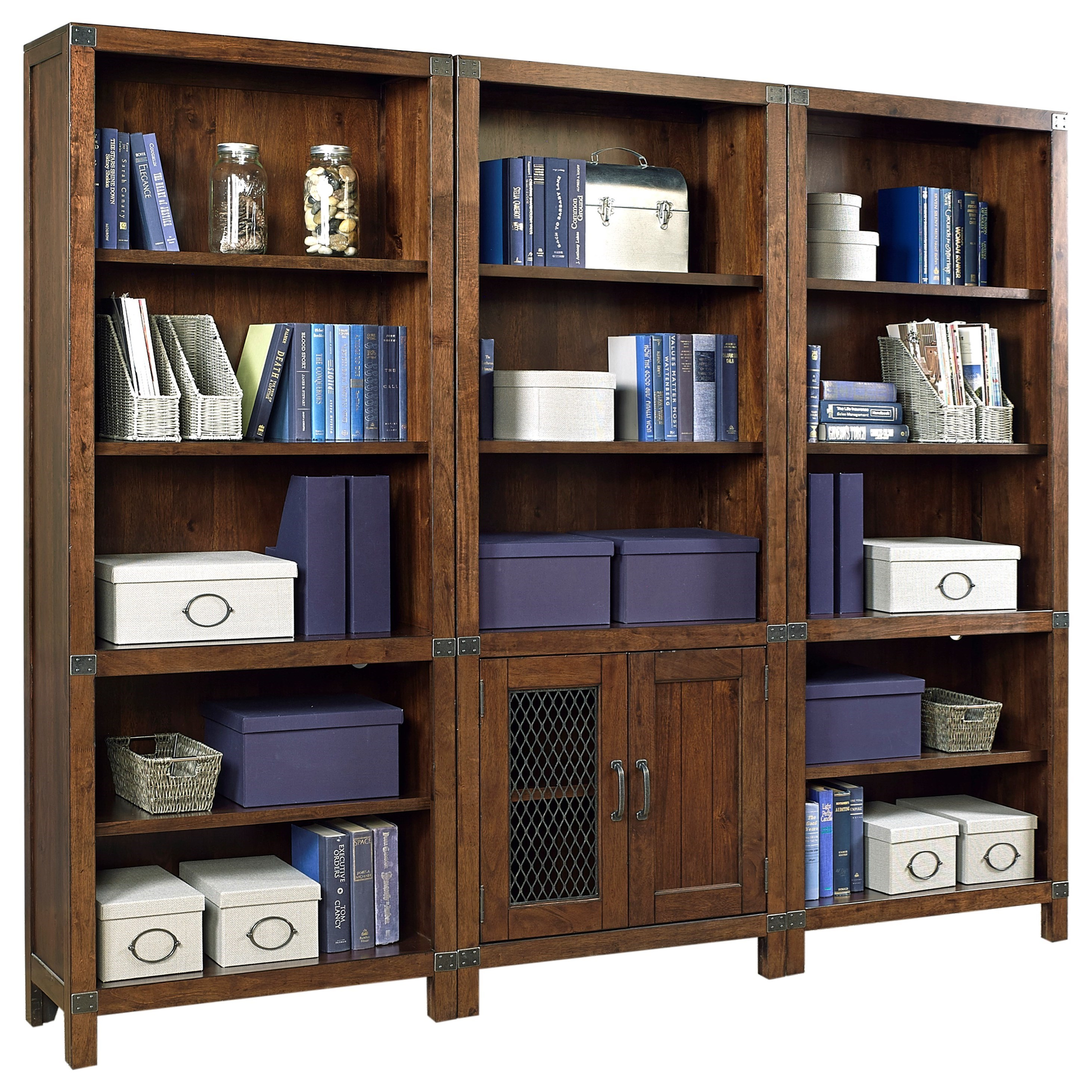 Birch Home Canfield Bookcase With Intergchangeable Wood Or Metal Grill Doors Sprintz Furniture