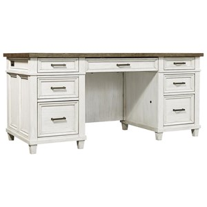 Casual Executive Desk with Drop Front Keyboard Drawer and 2 AC Outlets