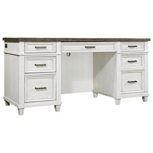 Casual 5-Drawer Credenza Desk with Adjustable Interior Shelving and Felt-Lined Drop Front Drawer