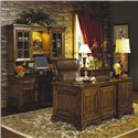 Aspenhome Centennial Kneehole Credenza and 3-Way Light Display Hutch Combination - Shown with Executive Desk