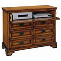 Aspenhome Centennial Entertainment Chest with Drop Front Component Storage Drawer and AC Outlets - I49-485