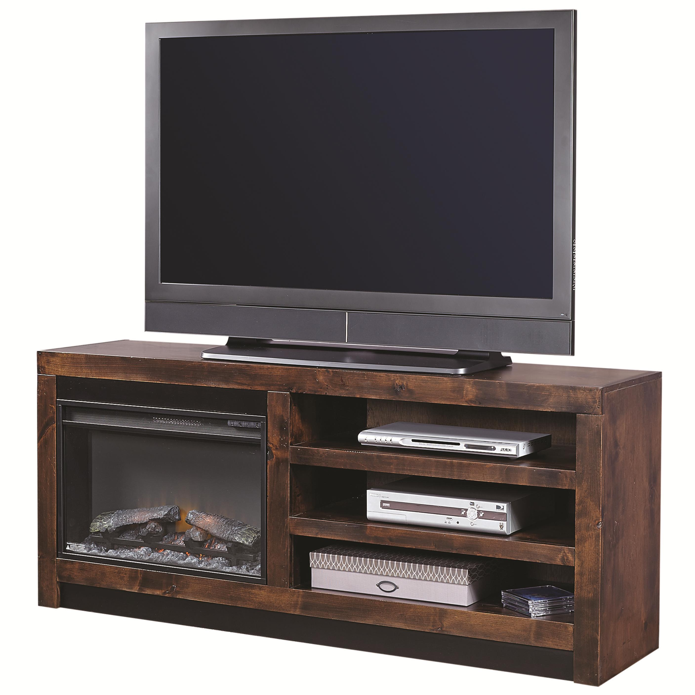Aspenhome Contemporary Alder 65 Inch Fireplace Console - Item Number: DL1903-TOB