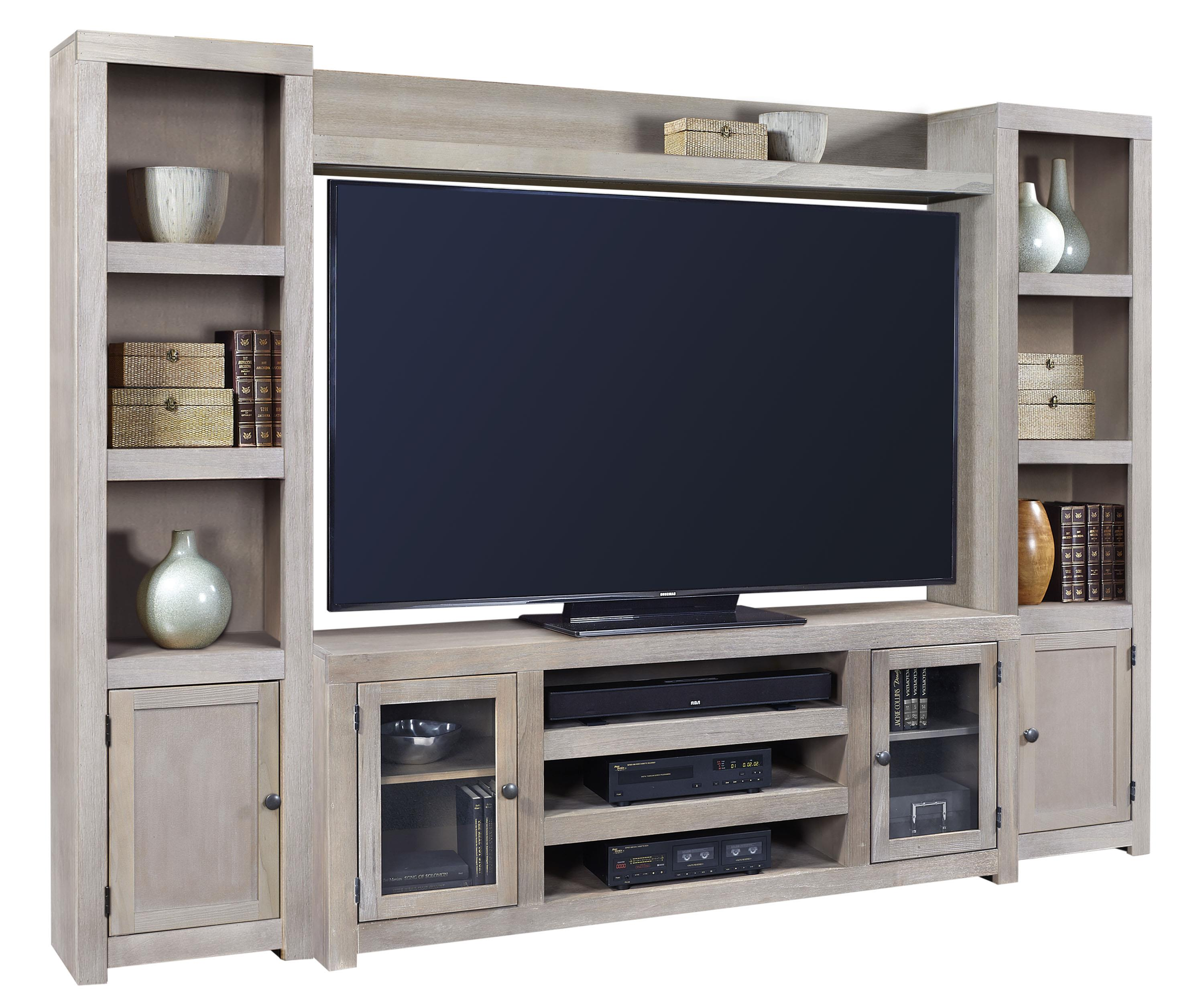 Aspenhome Contemporary Driftwood Entertainment Wall - Item Number: WML1073+173+118L+118R-DRF