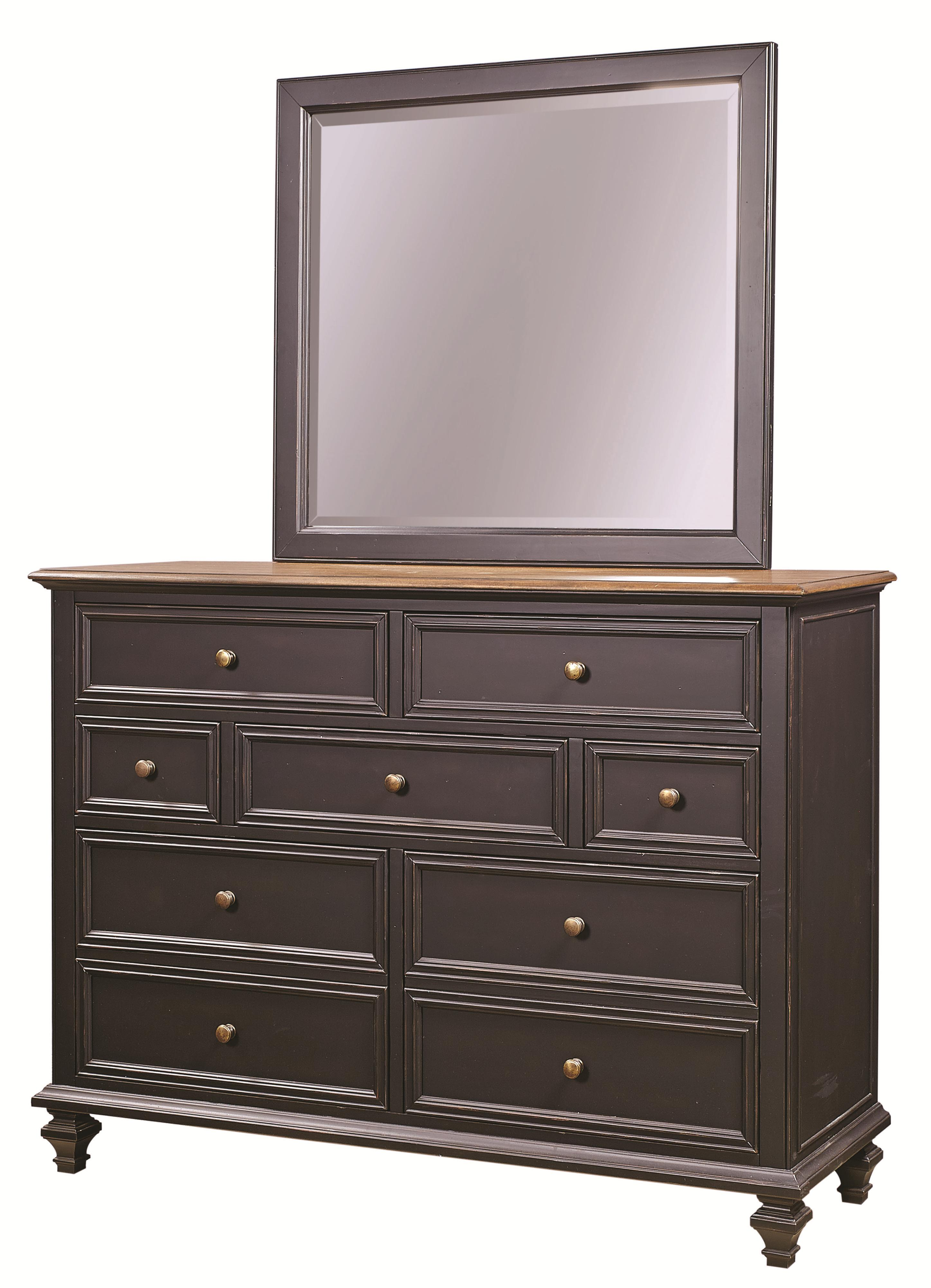 Aspenhome Ravenwood Chesser and Mirror Comb - Item Number: I65-455+462