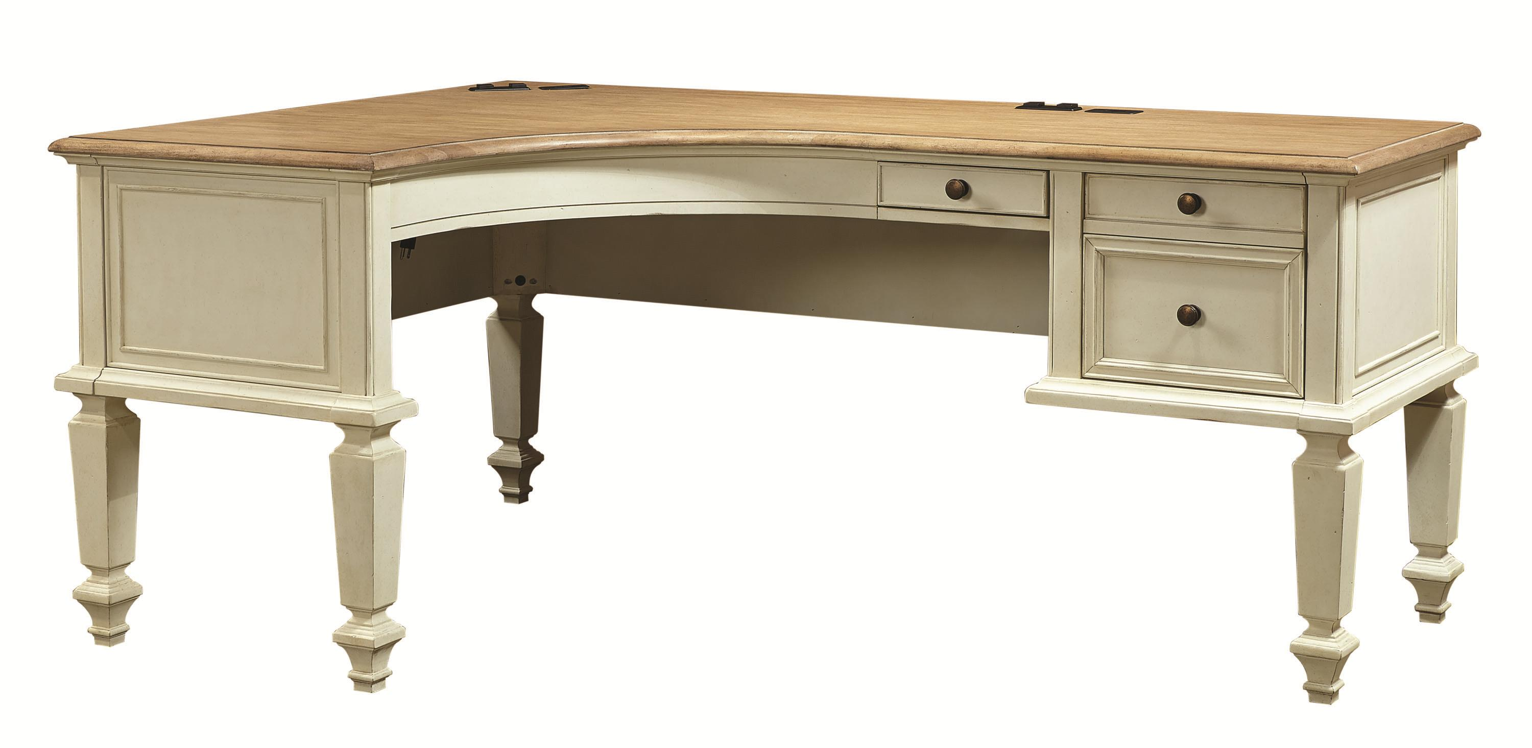 Aspenhome Cottonwood Curved Half Pedestal L Shaped Desk