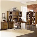 Aspenhome Cross Country L-Shaped Desk & Hutch - Shown with Bookcase Wall and Two Drawer Modular File