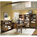 "Morris Home Furnishings Cross Country Two Door & Four Drawer Bookcase - Shown as Bookcase Wall with ""Sweet Spot U"" Desk and Hutch"