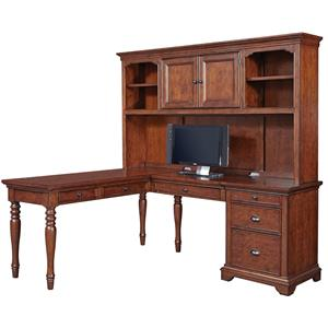 Highland Court Ironton L Shaped Desk with Hutch