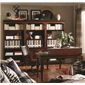 Aspenhome Villager Curve L Desk with 1 Drawer and 4 AC Outlets with Corner Hutch - Shown with Office Chair, Open Bookcases, and Door Bookcase
