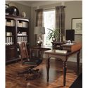 Morris Home Furnishings Ironton Curve L Desk with 1 Drawer and 4 AC Outlets - Shown with Corner Hutch and Office Chair