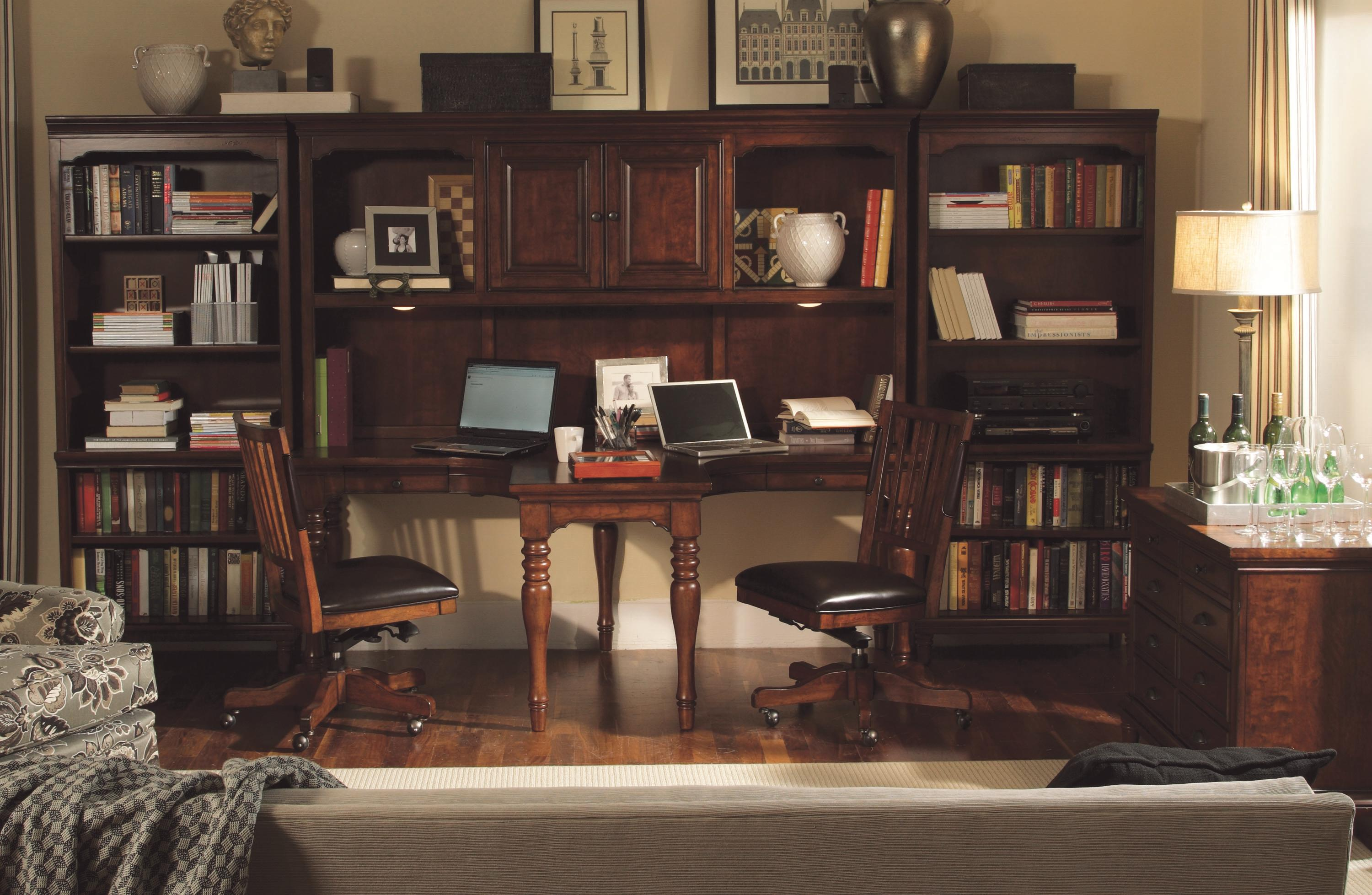 4 Piece Dual T Desk And Dual T Desk Hutch And 2 Open Bookcases   Villager  By Aspenhome   Wilcox Furniture   L Shape Desks Corpus Christi, Kingsville,  ...