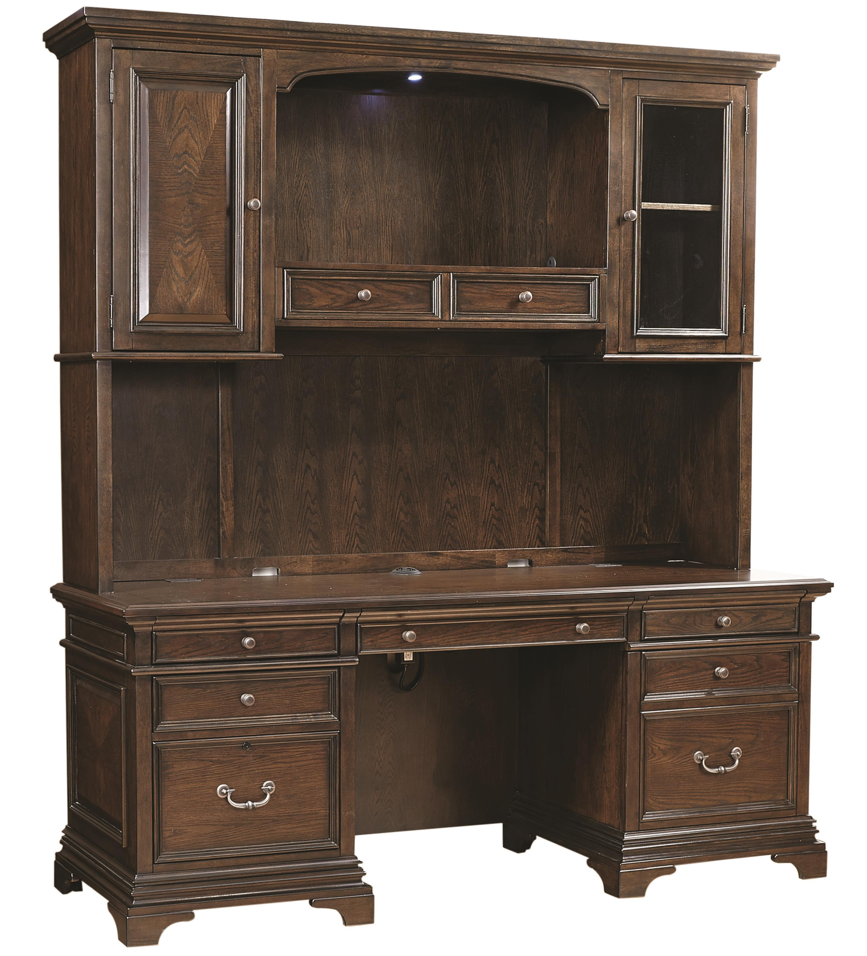 "Aspenhome Essex 75"" Credenza Desk and Hutch - Item Number: I24-318+319"