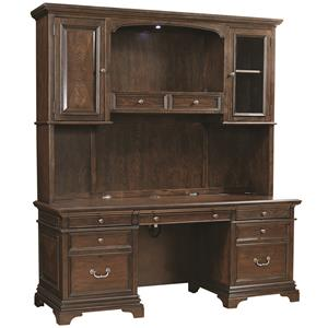 "Morris Home Furnishings Essex 75"" Credenza Desk and Hutch"