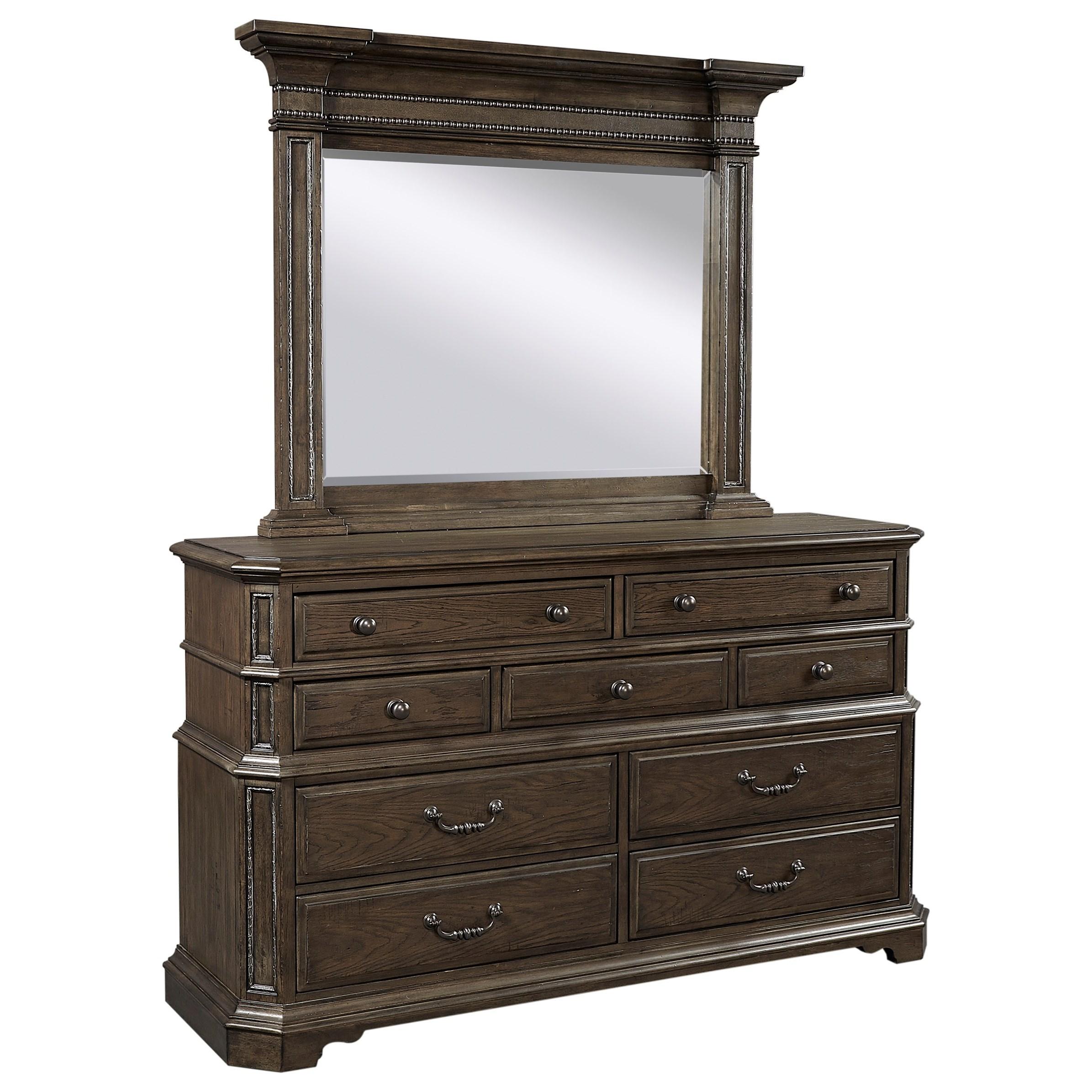 Foxhill Dresser + Mirror Set by Aspenhome at Walker's Furniture