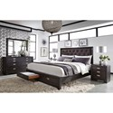 Aspenhome Front Street King Upholstered Panel Storage Bed with 2 USB Stations