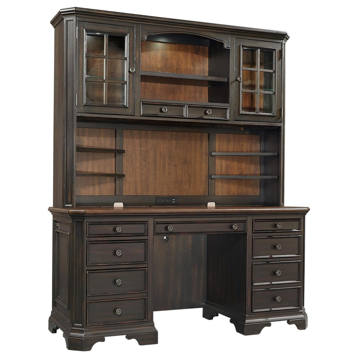 Hampton Credenza Desk and Hutch by Aspenhome at Walker's Furniture