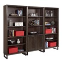Aspenhome Harper Point Contemporary Bookcase with Concealed Storage and Adjustable Shelves - Shown with Coordinating Open Bookcase