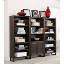 Aspenhome Harper Point Contemporary Open Bookcase with Adjustable Shelves - Shown with Coordinating Door Bookcase