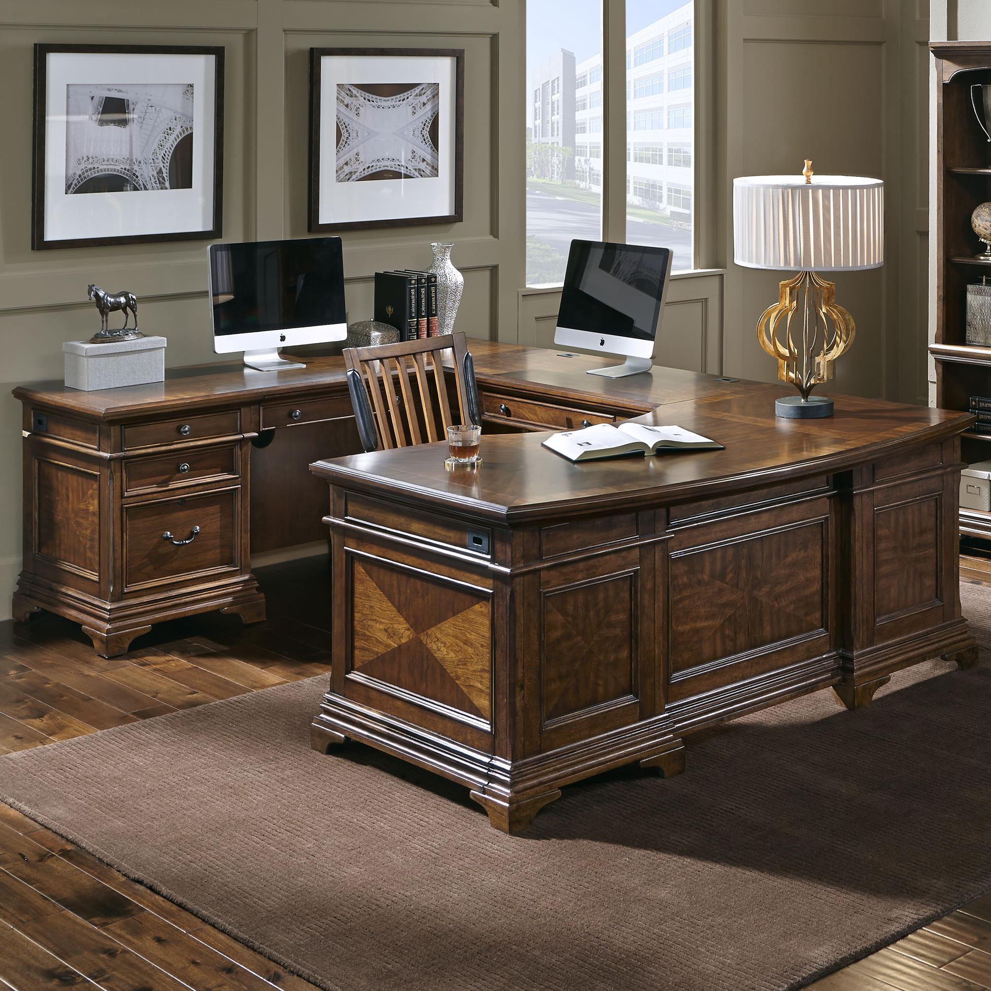 Aspenhome Hawthorne Left Facing Executive U Desk - Item Number: I26-305L+306+320L