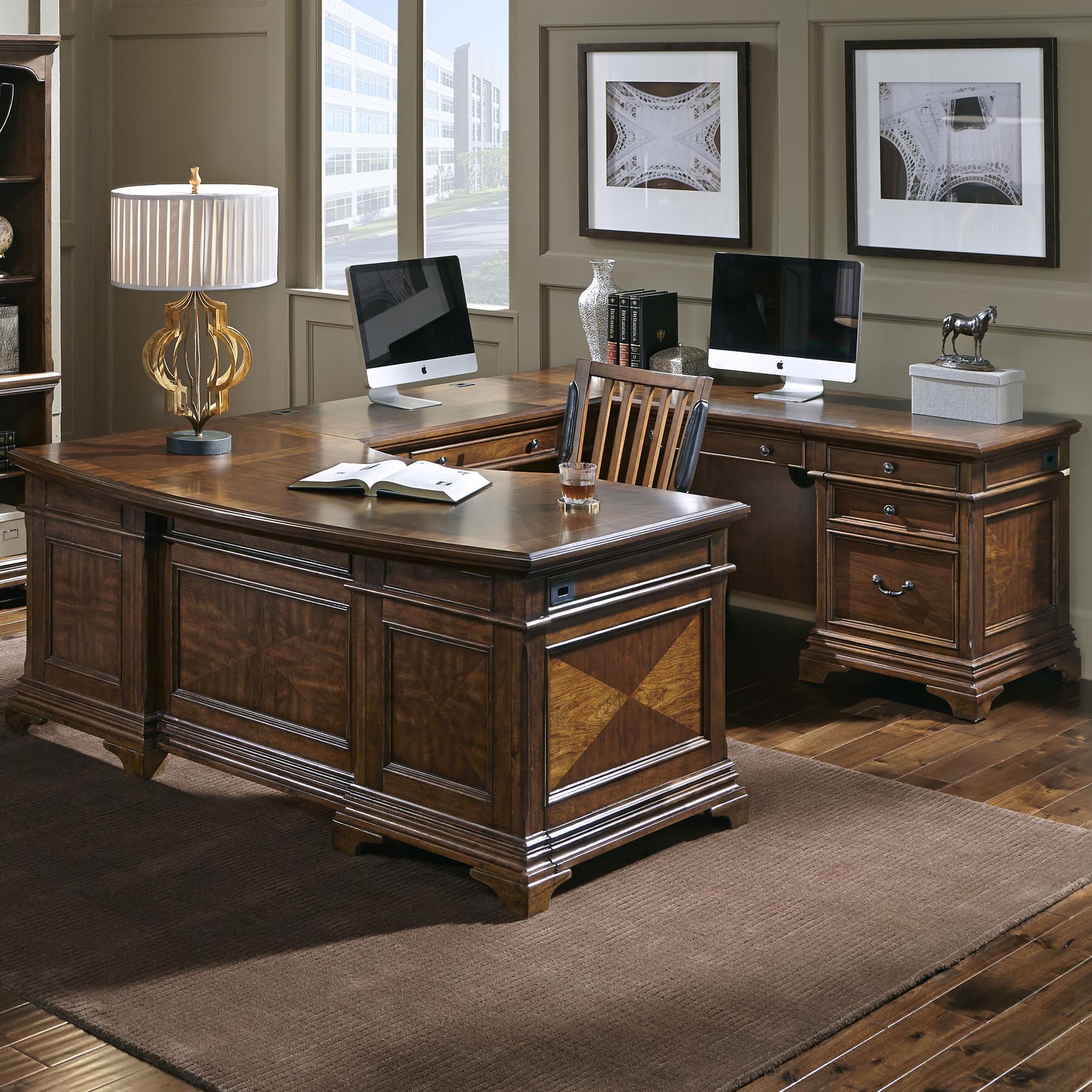 Aspenhome Hawthorne Right Facing Executive U Desk - Item Number: I26-305R+306+320R