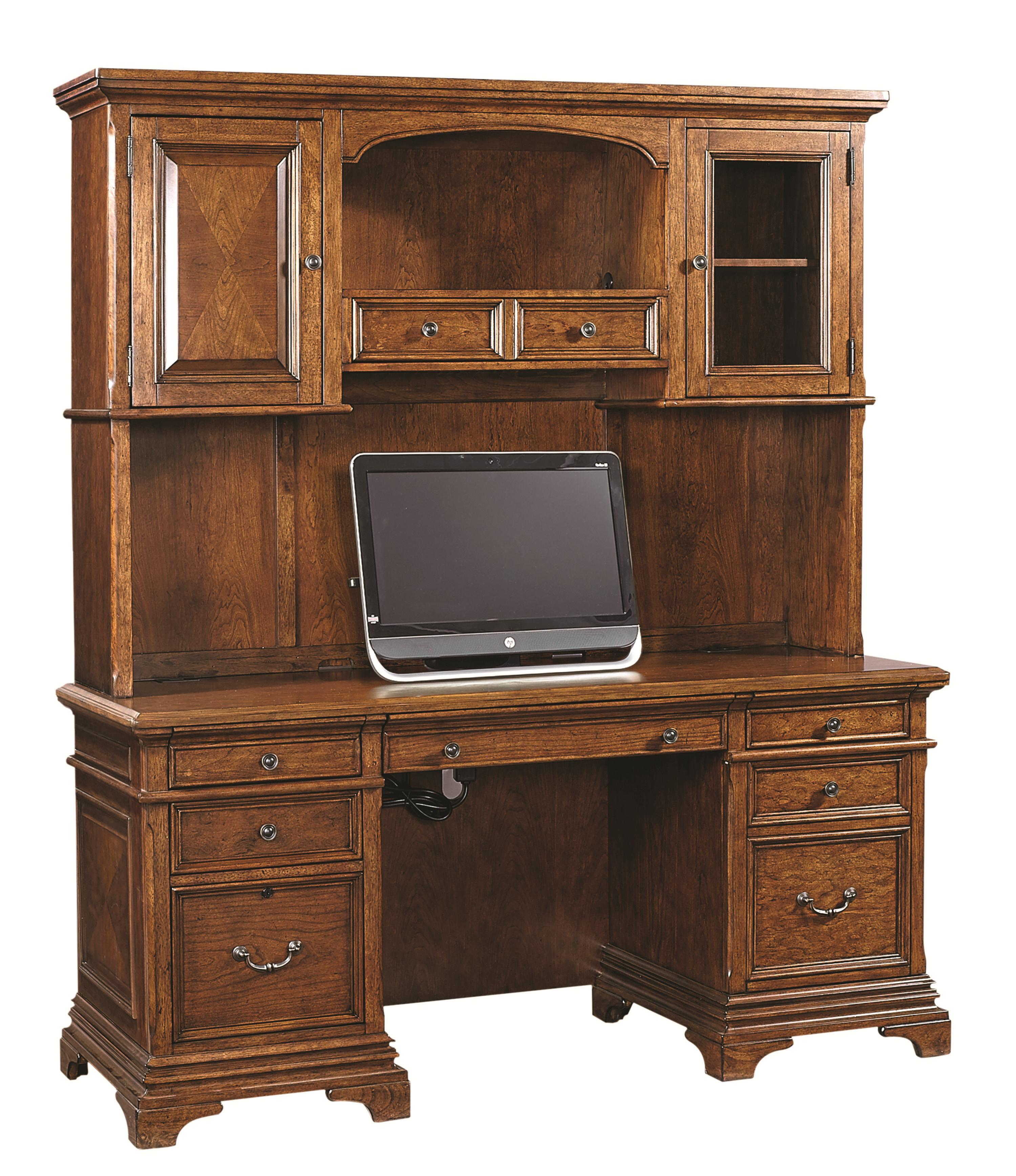 Aspenhome Hawthorne 74-Inch Credenza Desk and Hutch - Item Number: I26-319+318