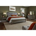 Aspenhome Hayden California King Asymmetrical Upholstered Bed with USB Charging Ports