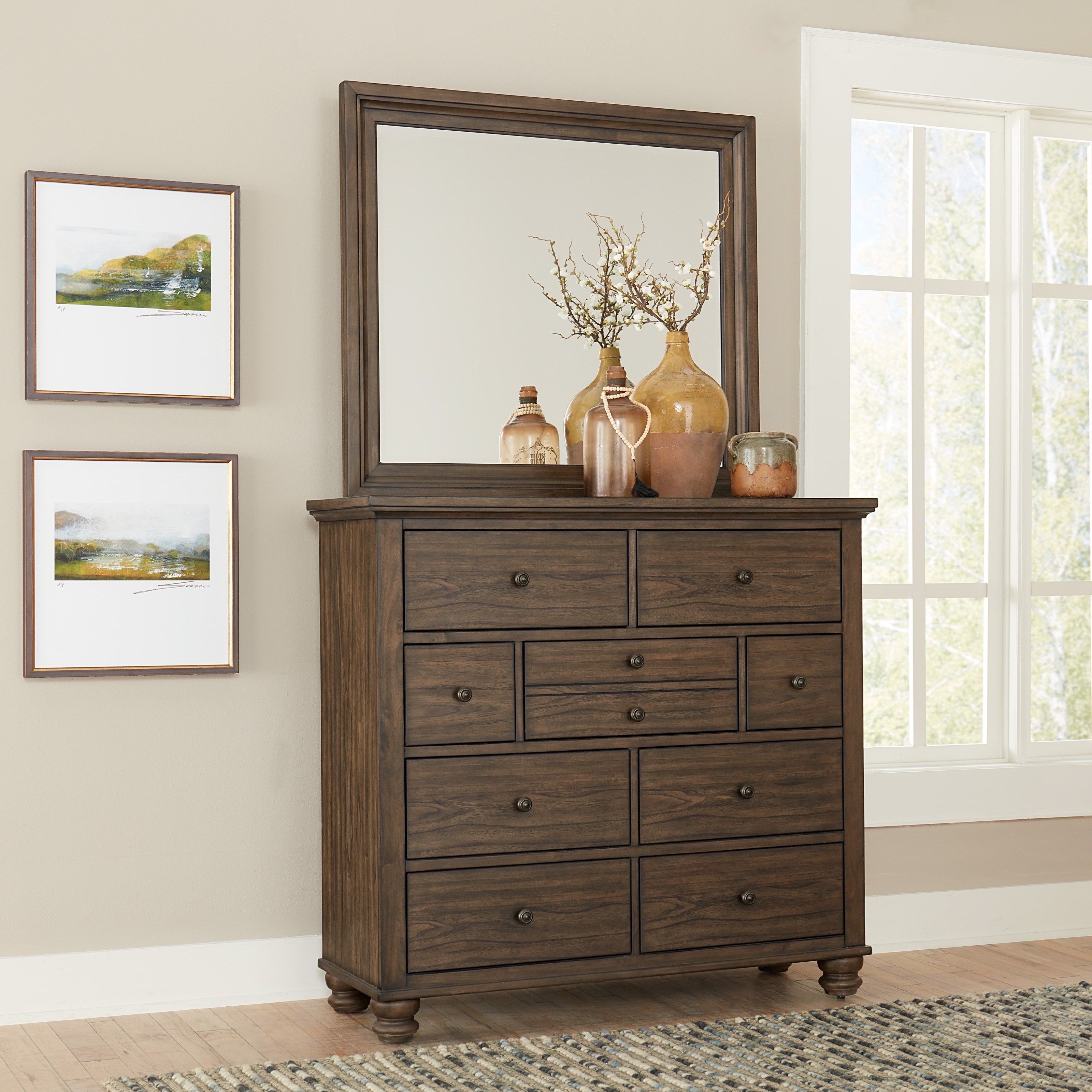 Hudson Valley Chest of Drawers and Mirror Combination by Aspenhome at Stoney Creek Furniture