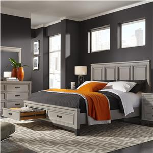 Aspenhome Hyde Park Queen Painted Panel Storage Bed