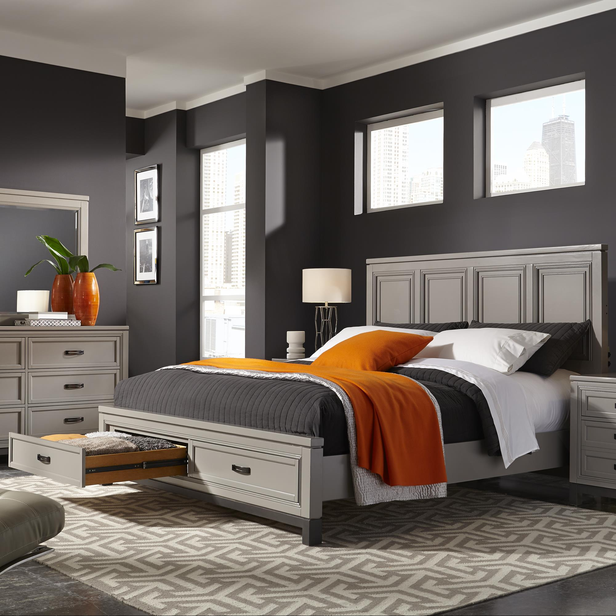 Aspenhome Hyde Park Cal King Painted Panel Storage Bed - Item Number: I32-495-407D-410