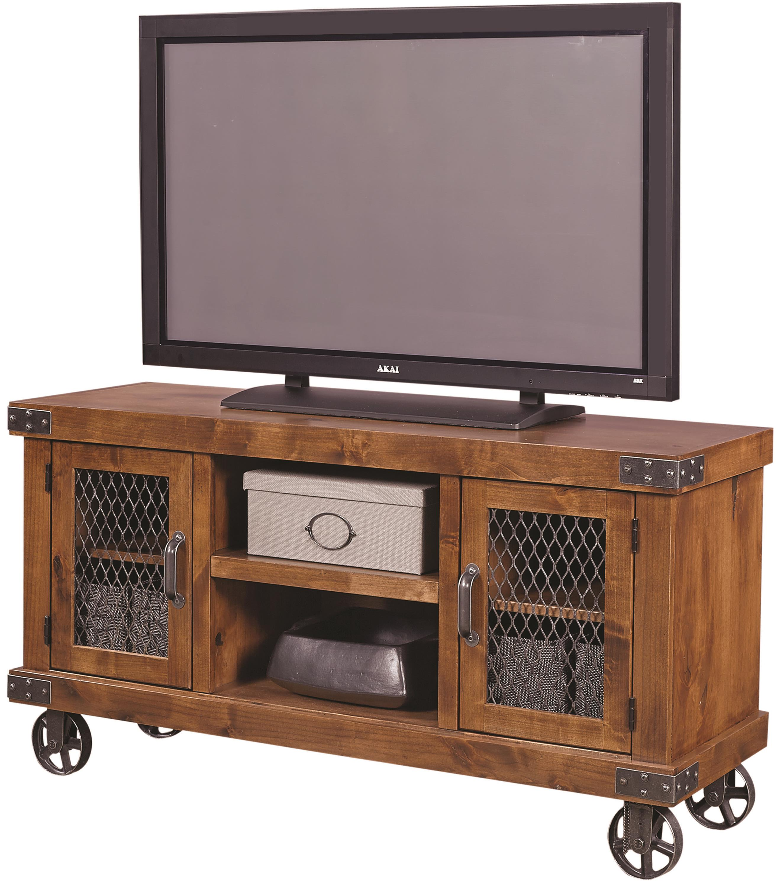 Aspenhome Industrial 55 Console With Metal Casters Belfort Furniture Tv Stands