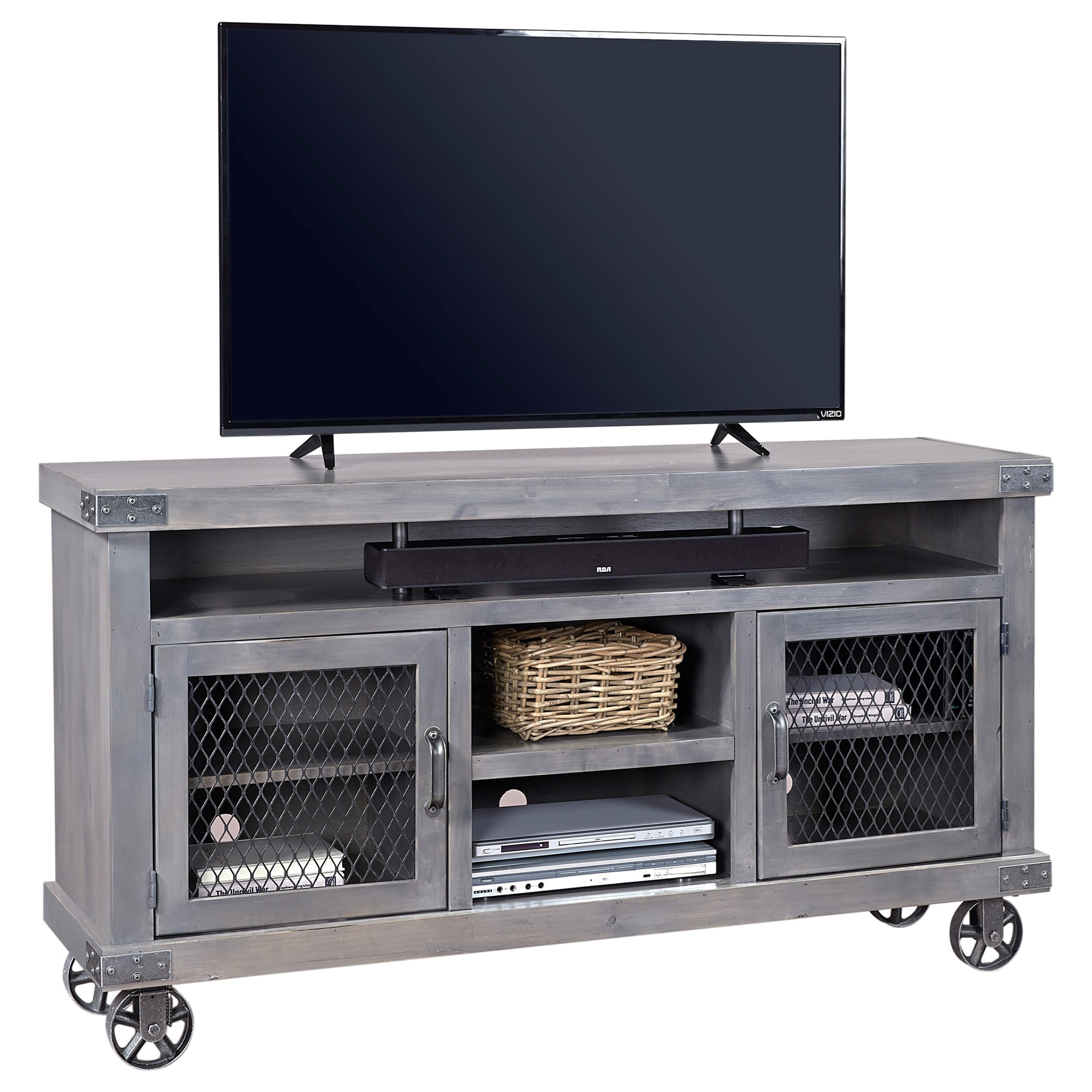 """Industrial  65"""" Console  by Aspenhome at Mueller Furniture"""