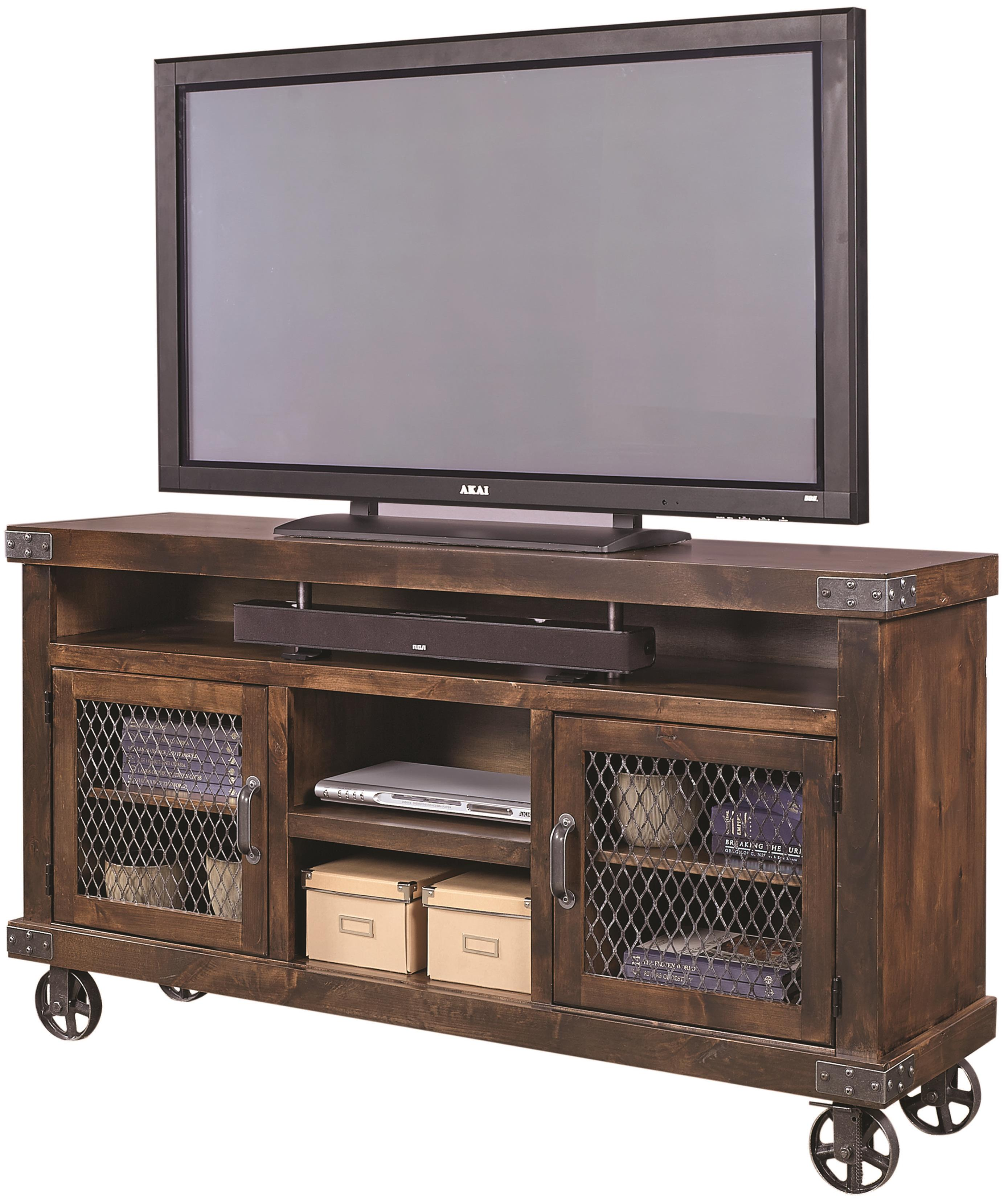 Aspenhome Industrial 65 Console With Metal Casters Belfort Furniture Tv Stands