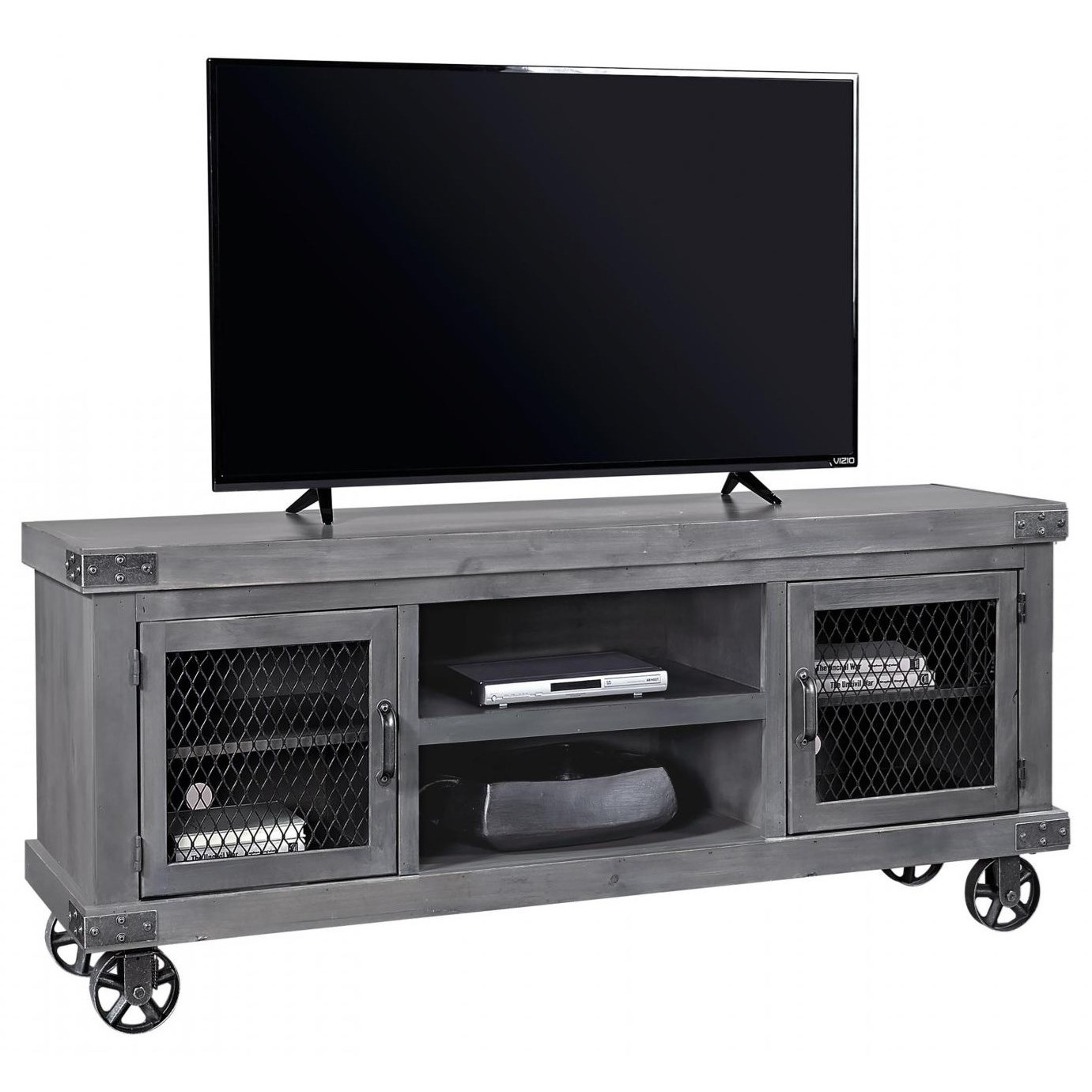 """Industrial  74"""" Console  by Aspenhome at Stoney Creek Furniture"""