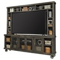 """Aspenhome Industrial 96"""" TV Stand with Hutch - Item Number: WMN1270-LGH+H"""