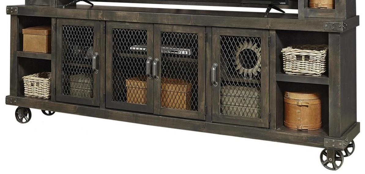 """Industrial 97"""" Console by Aspenhome at Baer's Furniture"""