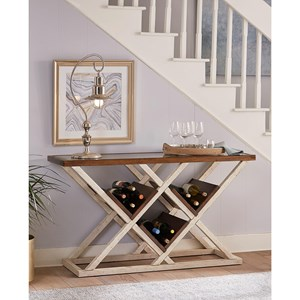 Aspenhome Modern Farmhouse Console Table with Bottle Storage