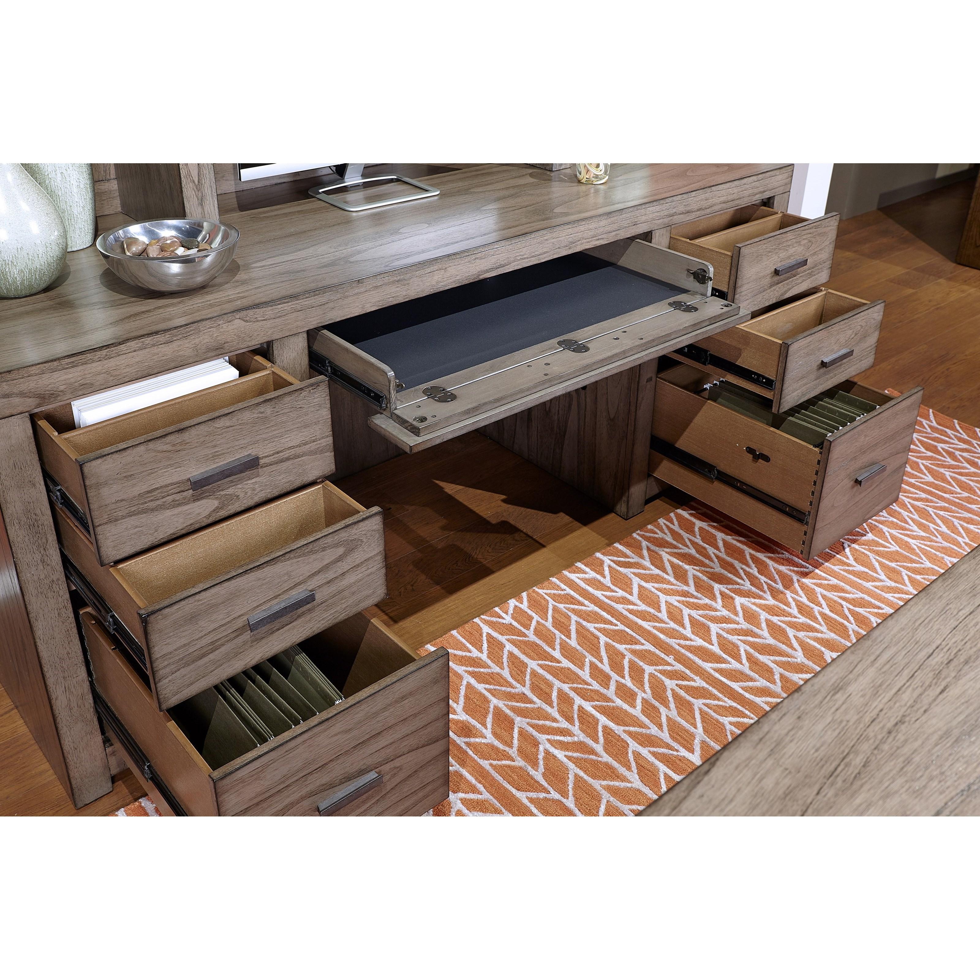 """Aspenhome Modern Loft Contemporary 72"""" Credenza Desk With"""