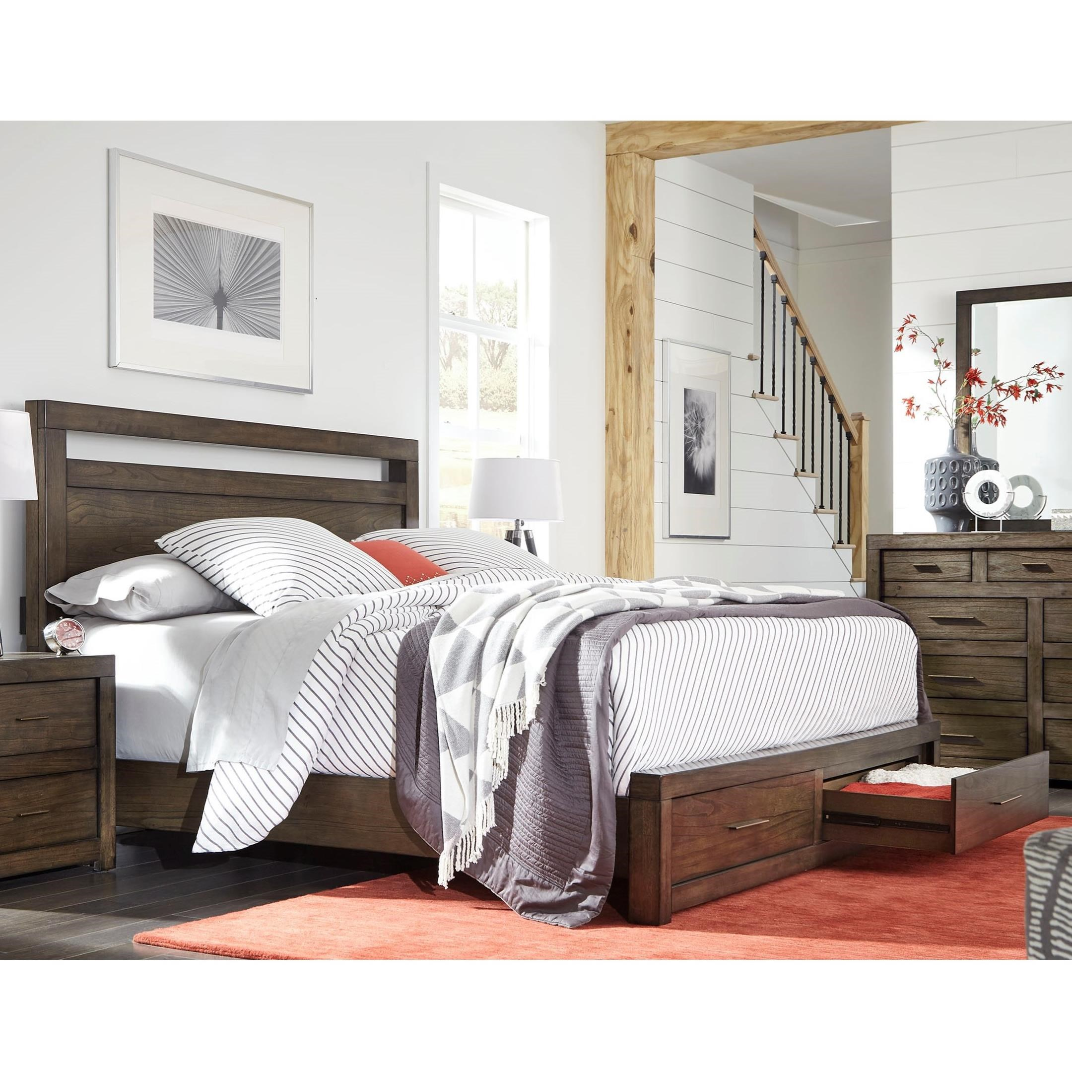 Aspenhome Modern Loft Cal King Panel Storage Bed - Item Number: IML-415+407D+410-BRN