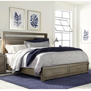 Aspenhome Modern Loft King Panel Storage Bed