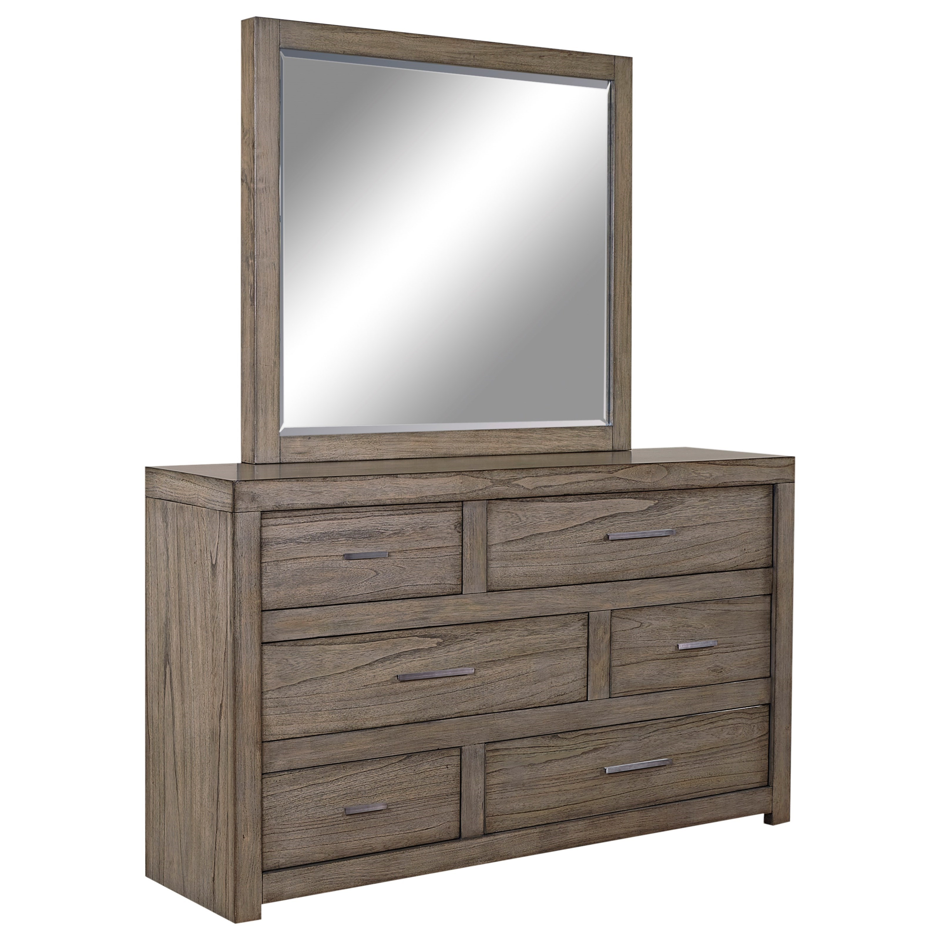 Aspenhome Modern Loft Dresser and Mirror Set - Item Number: IML-453+63-GRY