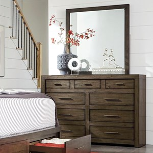 Aspenhome Modern Loft Chesser and Mirror Set