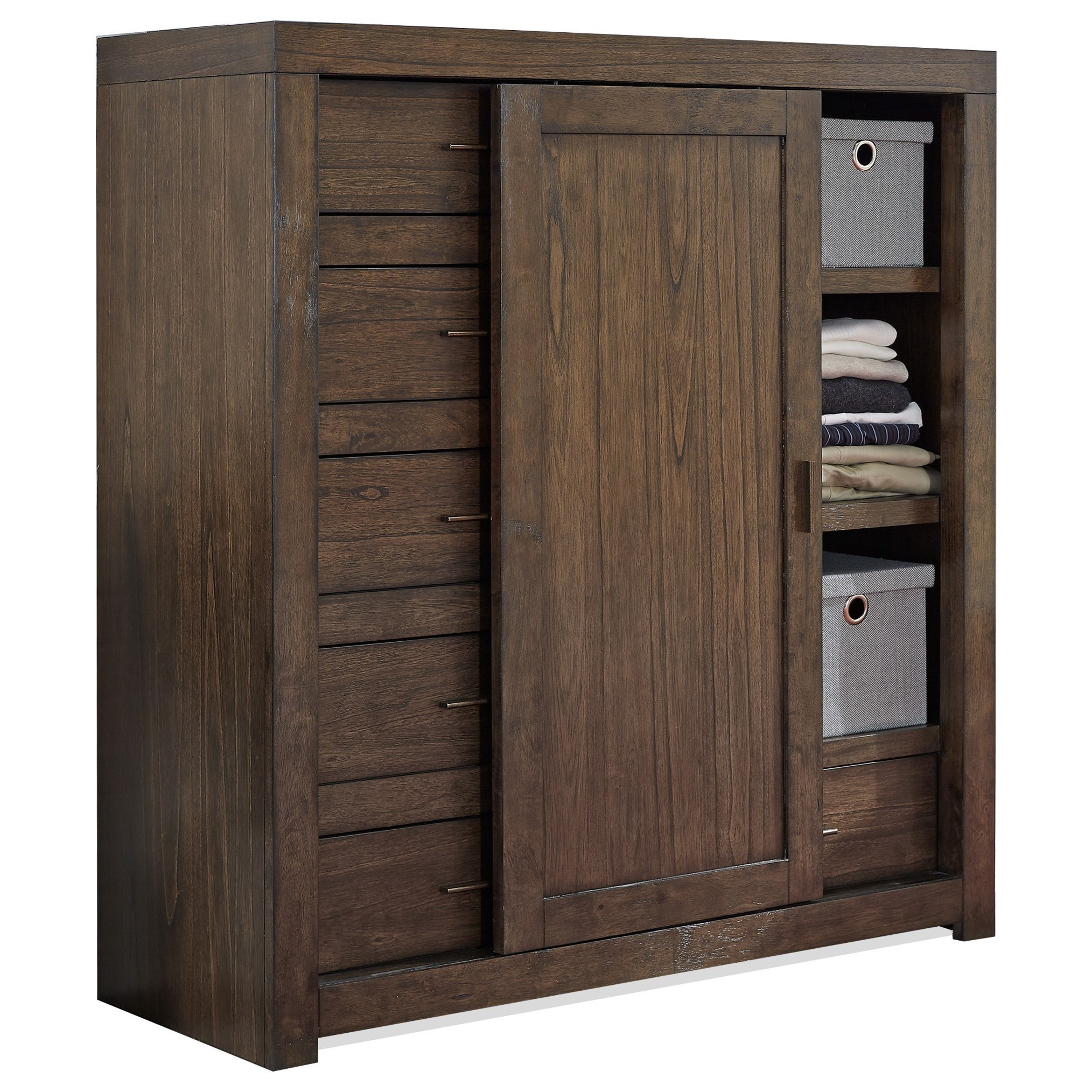 Aspenhome Modern Loft Sliding Door Wardrobe Chest With Cedar Lined Bottom Drawer Belfort Furniture Door Chests
